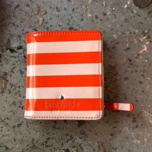 Kate Spade Orange & Blush Striped Mini Wallet